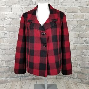 Gap Wool Pea Coat Buffalo Plaid Medium Red